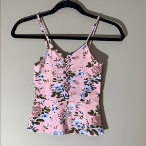 AEO floral tank top. Pink with blue & green. XS